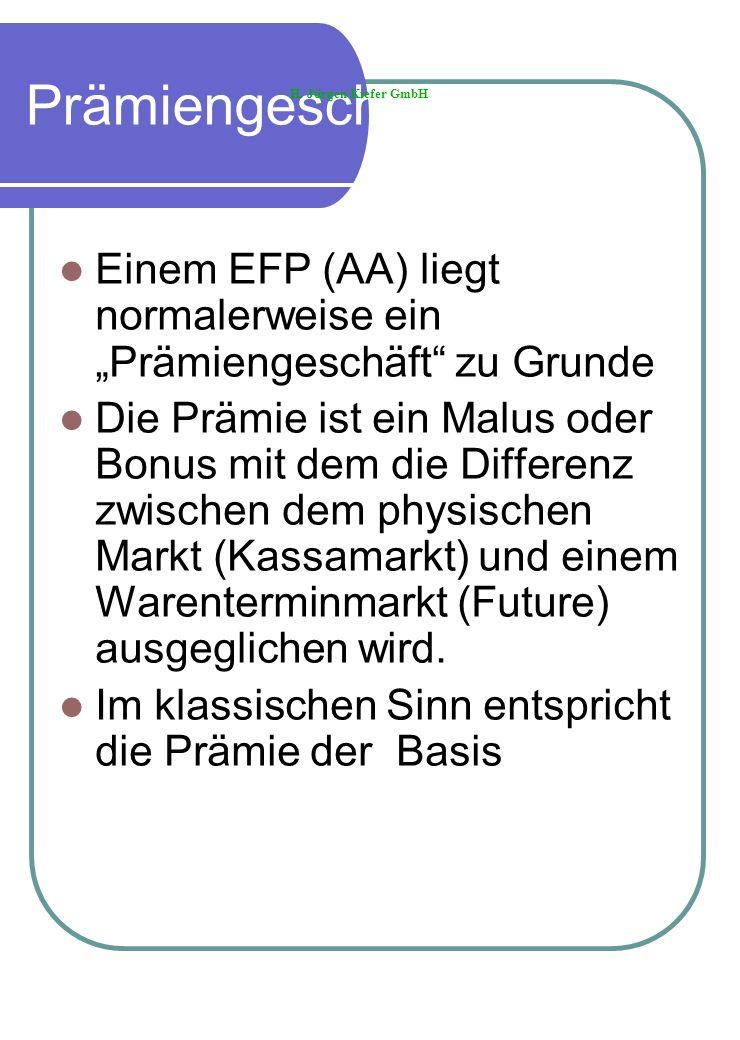 Prämiengeschäft Einem EFP (AA) liegt normalerweise ein Prämiengeschäft zu Grunde Die Prämie ist ein Malus oder Bonus mit dem die Differenz zwischen de