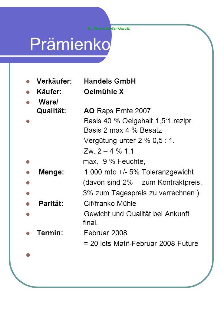 Prämienkontrakt Verkäufer: Handels GmbH Käufer:Oelmühle X Ware/ Qualität: AO Raps Ernte 2007 Basis 40 % Oelgehalt 1,5:1 rezipr. Basis 2 max 4 % Besatz