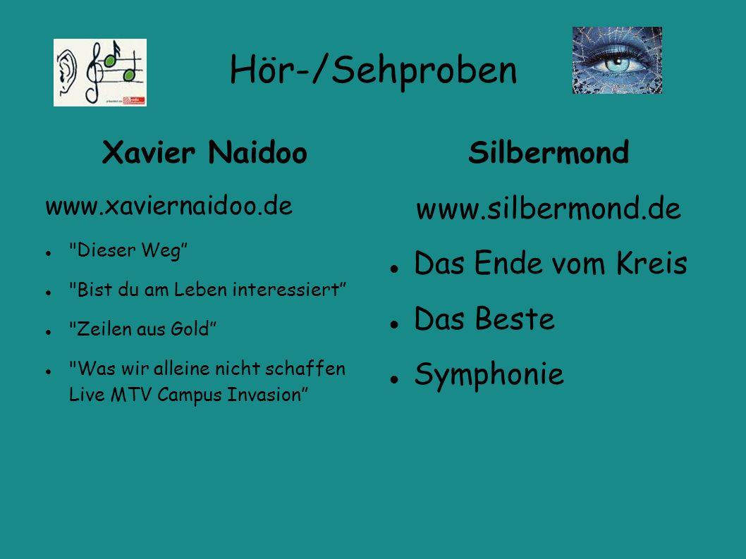 Hör-/Sehproben Xavier Naidoo www.xaviernaidoo.de