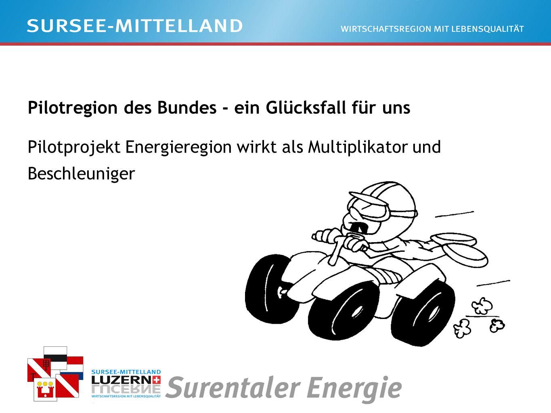Pilotregion des Bundes - ein Glücksfall für uns Pilotprojekt Energieregion wirkt als Multiplikator und Beschleuniger