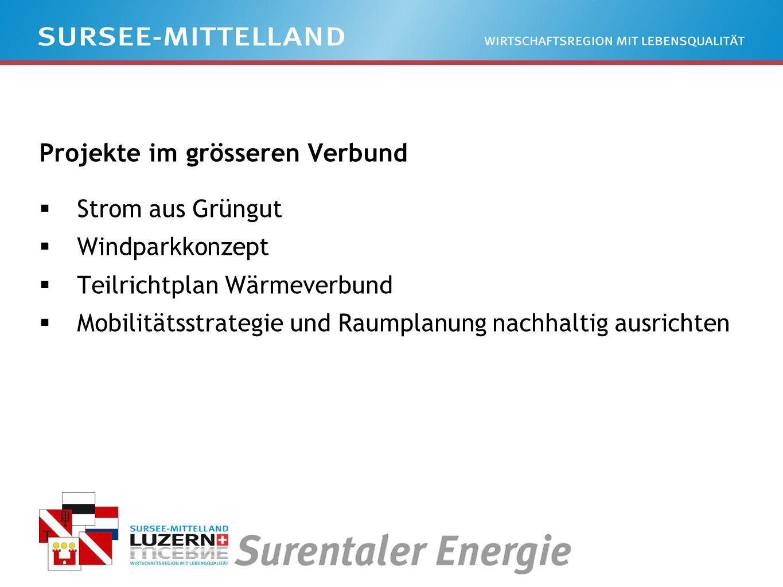 Projekte im grösseren Verbund Strom aus Grüngut Windparkkonzept Teilrichtplan Wärmeverbund Mobilitätsstrategie und Raumplanung nachhaltig ausrichten