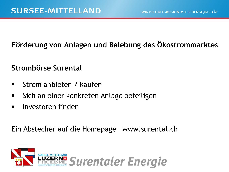 Förderung von Anlagen und Belebung des Ökostrommarktes Strombörse Surental Strom anbieten / kaufen Sich an einer konkreten Anlage beteiligen Investoren finden Ein Abstecher auf die Homepage www.surental.ch