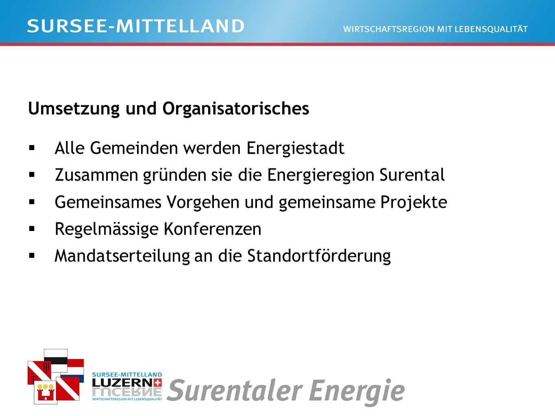 Umsetzung und Organisatorisches Alle Gemeinden werden Energiestadt Zusammen gründen sie die Energieregion Surental Gemeinsames Vorgehen und gemeinsame Projekte Regelmässige Konferenzen Mandatserteilung an die Standortförderung