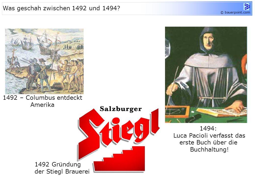© bauerpoint.com 1492 – Columbus entdeckt Amerika 1492 Gründung der Stiegl Brauerei 1494: Luca Pacioli verfasst das erste Buch über die Buchhaltung.