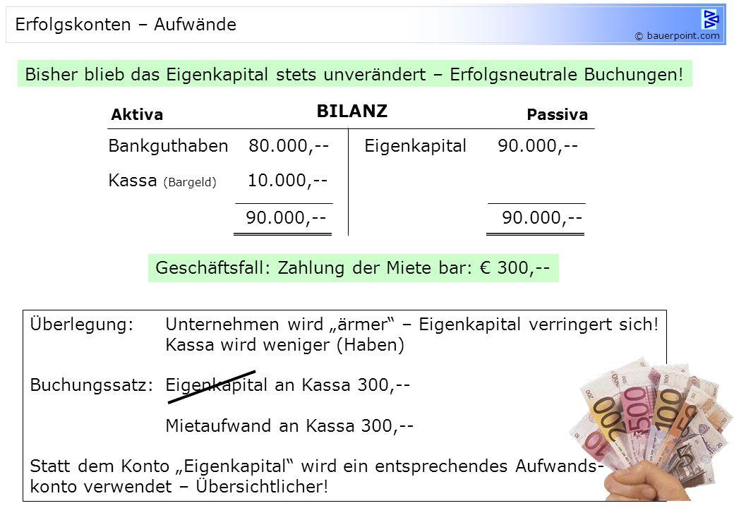 © bauerpoint.com 4.Schritt EBK 5.000,-- Konto: Bank Soll Haben EBK 6.000,-- Konto: Geschäftsaus. Soll Haben EBK 7.000,-- Konto: LV Soll Haben EBK 4.00