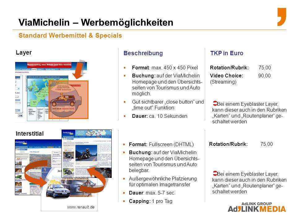 ViaMichelin – Werbemöglichkeiten Standard Werbemittel & Specials Beschreibung Format: max.