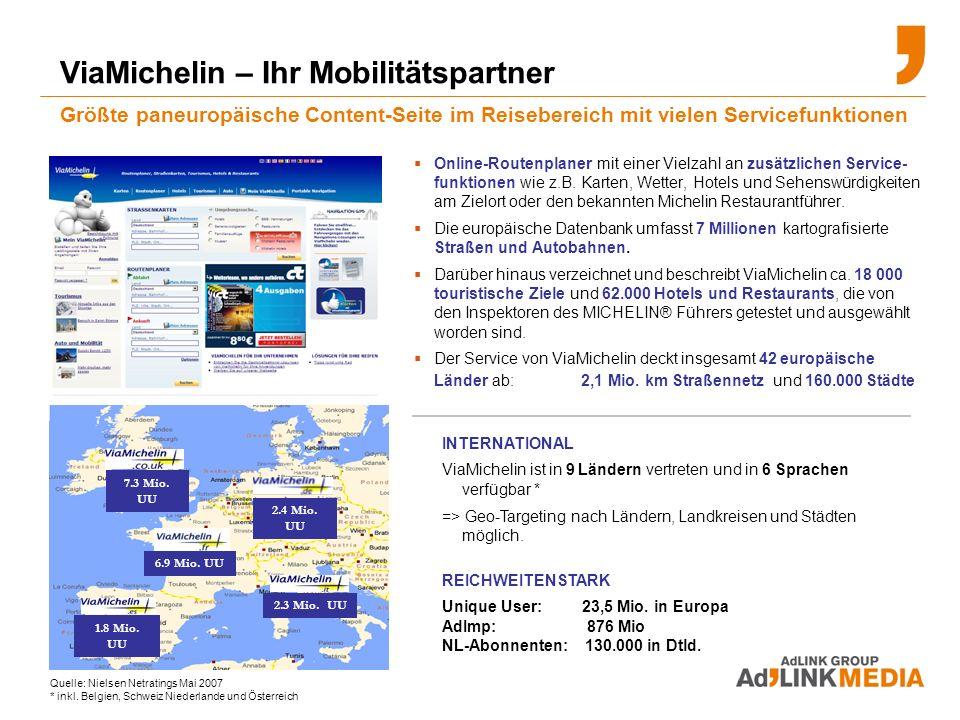 Online-Routenplaner mit einer Vielzahl an zusätzlichen Service- funktionen wie z.B.