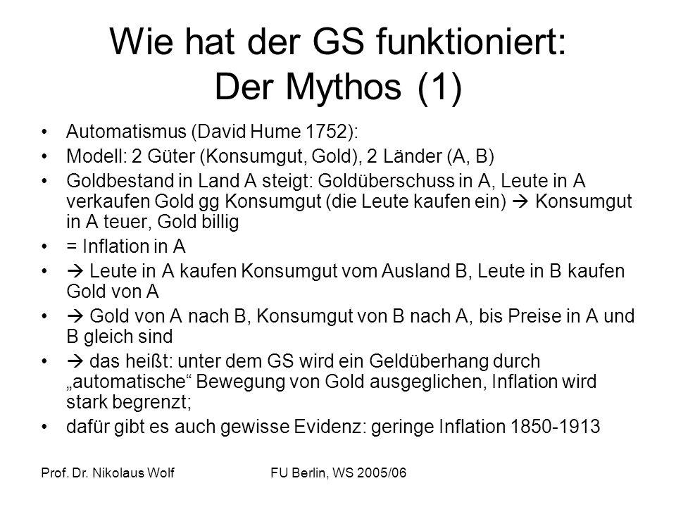 Prof. Dr. Nikolaus WolfFU Berlin, WS 2005/06 Wie hat der GS funktioniert: Der Mythos (1) Automatismus (David Hume 1752): Modell: 2 Güter (Konsumgut, G