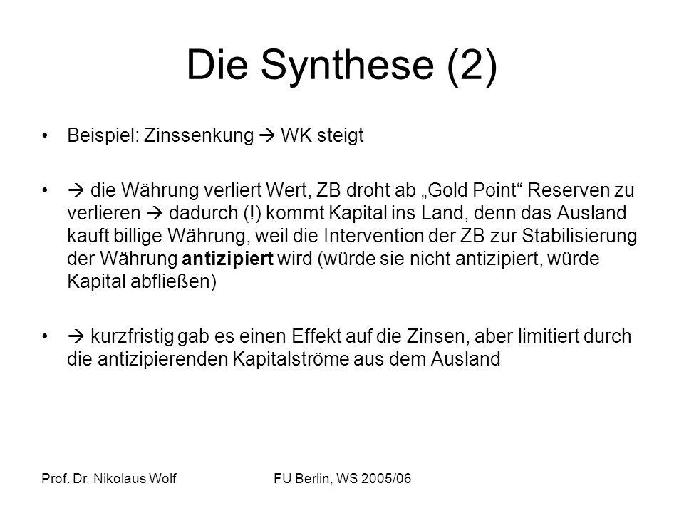 Prof. Dr. Nikolaus WolfFU Berlin, WS 2005/06 Die Synthese (2) Beispiel: Zinssenkung WK steigt die Währung verliert Wert, ZB droht ab Gold Point Reserv