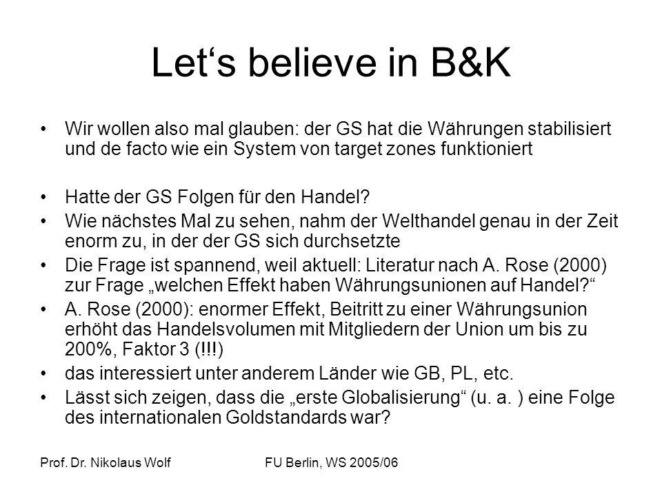 Prof. Dr. Nikolaus WolfFU Berlin, WS 2005/06 Lets believe in B&K Wir wollen also mal glauben: der GS hat die Währungen stabilisiert und de facto wie e
