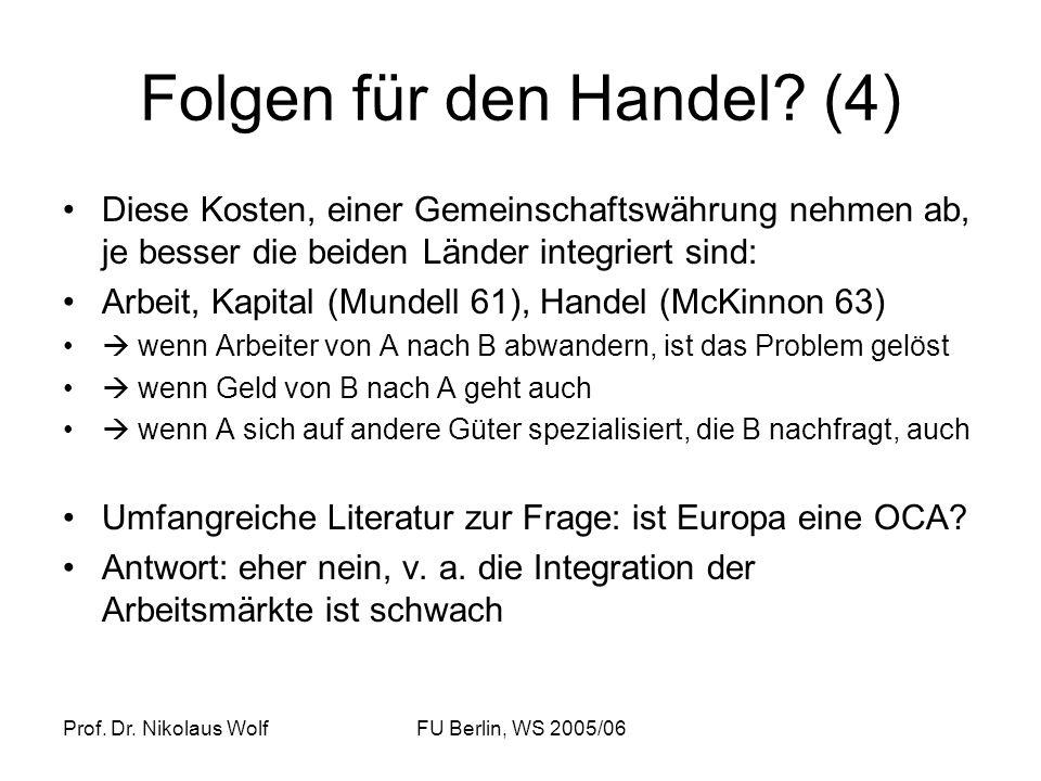 Prof. Dr. Nikolaus WolfFU Berlin, WS 2005/06 Folgen für den Handel? (4) Diese Kosten, einer Gemeinschaftswährung nehmen ab, je besser die beiden Lände