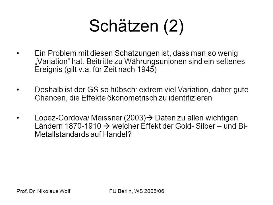 Prof. Dr. Nikolaus WolfFU Berlin, WS 2005/06 Schätzen (2) Ein Problem mit diesen Schätzungen ist, dass man so wenig Variation hat: Beitritte zu Währun