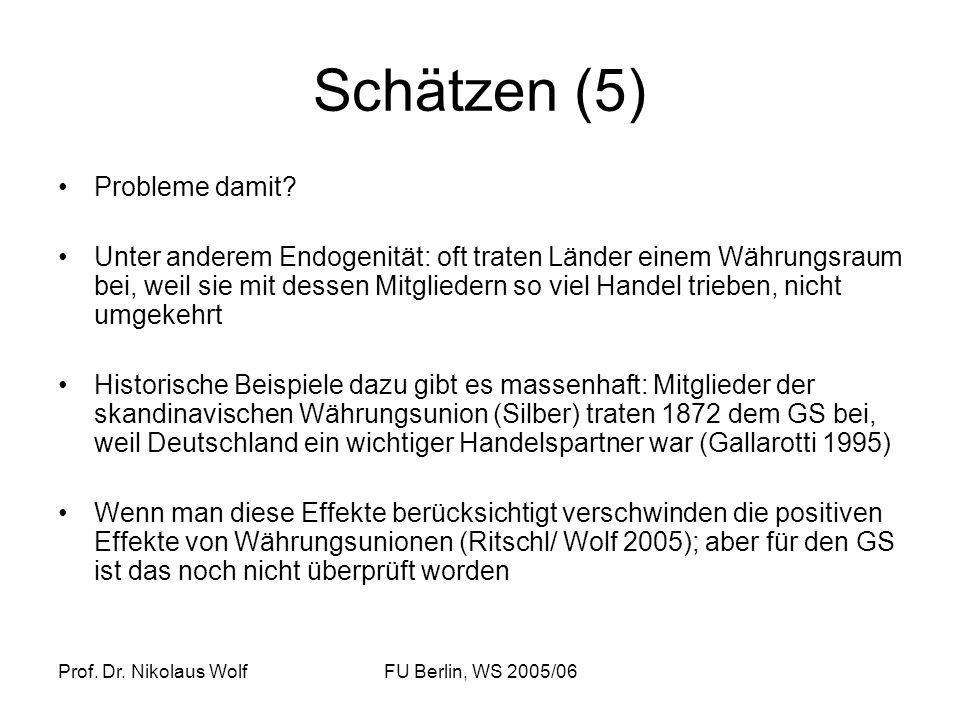 Prof. Dr. Nikolaus WolfFU Berlin, WS 2005/06 Schätzen (5) Probleme damit? Unter anderem Endogenität: oft traten Länder einem Währungsraum bei, weil si