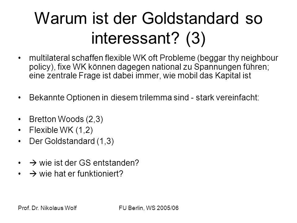 Prof. Dr. Nikolaus WolfFU Berlin, WS 2005/06 Warum ist der Goldstandard so interessant? (3) multilateral schaffen flexible WK oft Probleme (beggar thy