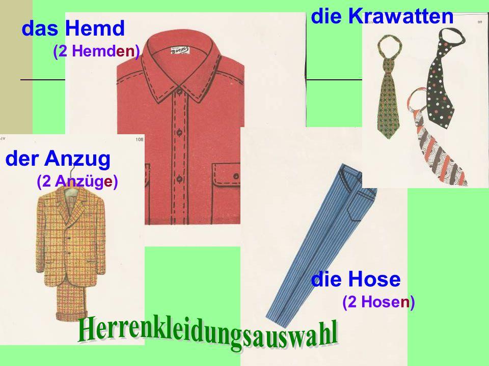 der Anzug (2 Anzüge) das Hemd (2 Hemden) die Krawatten die Hose (2 Hosen)