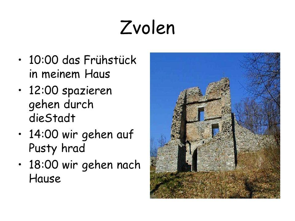 Zvolen 10:00 das Frühstück in meinem Haus 12:00 spazieren gehen durch dieStadt 14:00 wir gehen auf Pusty hrad 18:00 wir gehen nach Hause