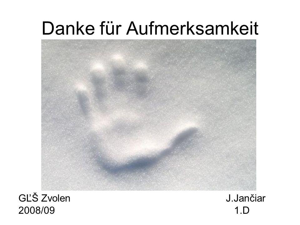 Danke für Aufmerksamkeit GĽŠ Zvolen J.Jančiar 2008/09 1.D