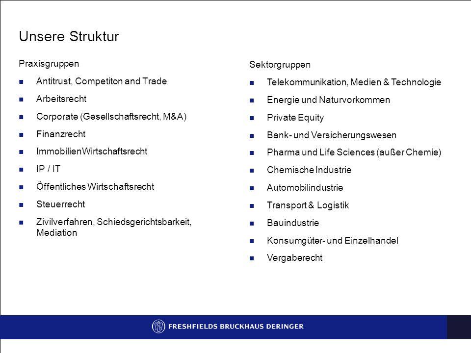 Unsere Struktur Praxisgruppen Antitrust, Competiton and Trade Arbeitsrecht Corporate (Gesellschaftsrecht, M&A) Finanzrecht ImmobilienWirtschaftsrecht