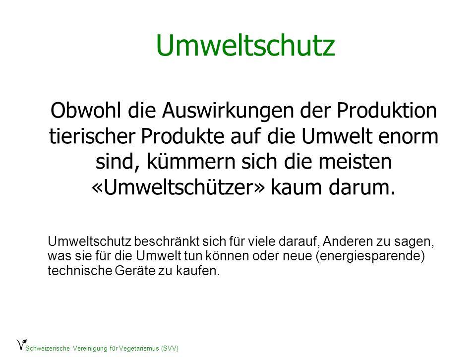 Schweizerische Vereinigung für Vegetarismus (SVV) Umweltschutz Obwohl die Auswirkungen der Produktion tierischer Produkte auf die Umwelt enorm sind, k