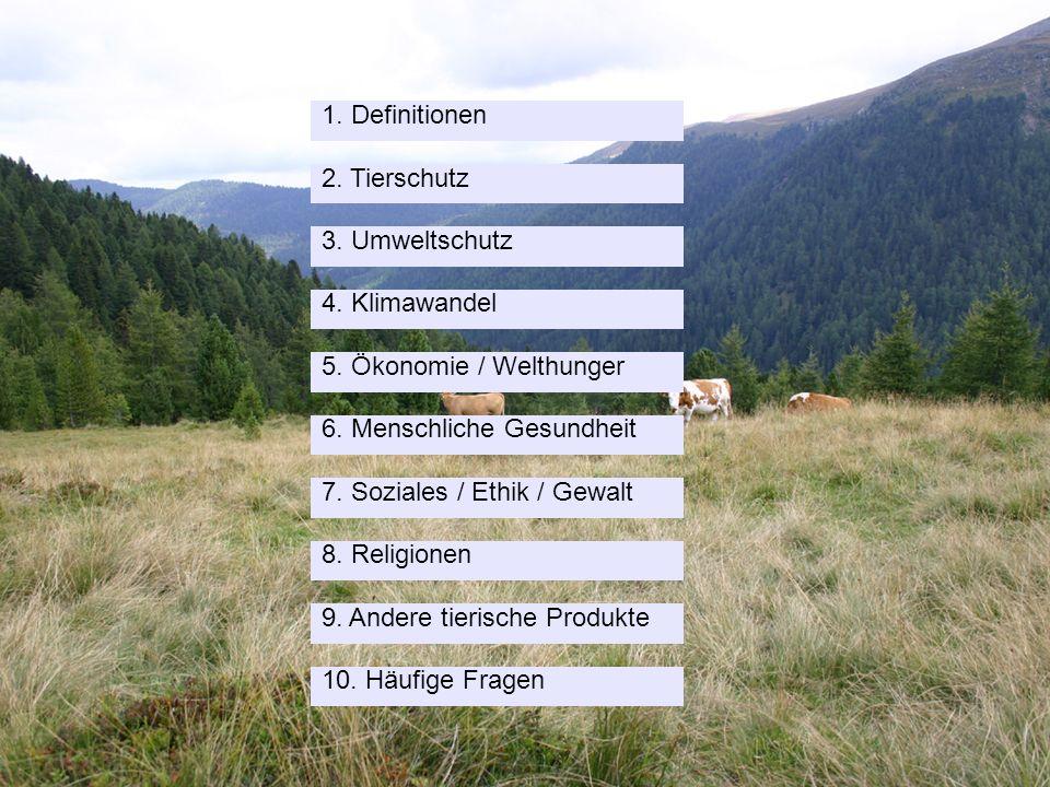 Schweizerische Vereinigung für Vegetarismus (SVV) 10. Häufige Fragen 1. Definitionen 2. Tierschutz 3. Umweltschutz 4. Klimawandel 5. Ökonomie / Welthu