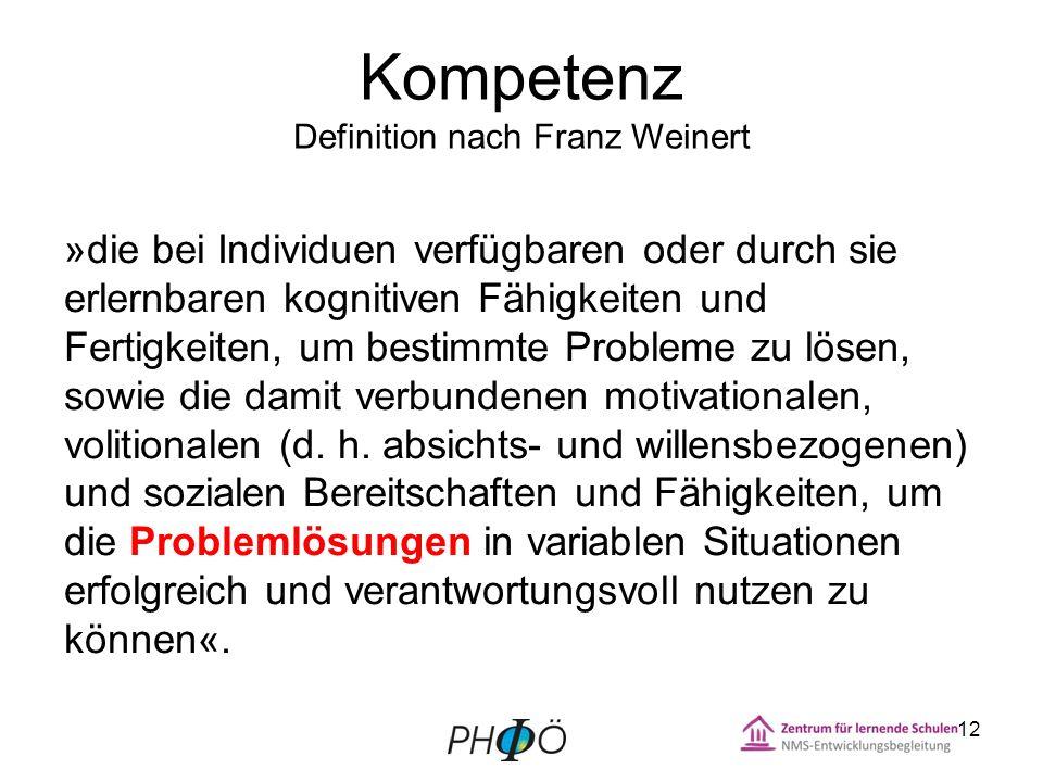 Kompetenz Definition nach Franz Weinert »die bei Individuen verfügbaren oder durch sie erlernbaren kognitiven Fähigkeiten und Fertigkeiten, um bestimmte Probleme zu lösen, sowie die damit verbundenen motivationalen, volitionalen (d.