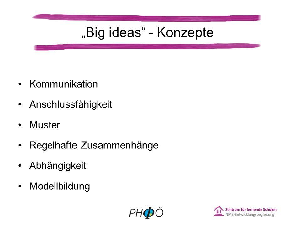 Kommunikation Anschlussfähigkeit Muster Regelhafte Zusammenhänge Abhängigkeit Modellbildung Big ideas - Konzepte