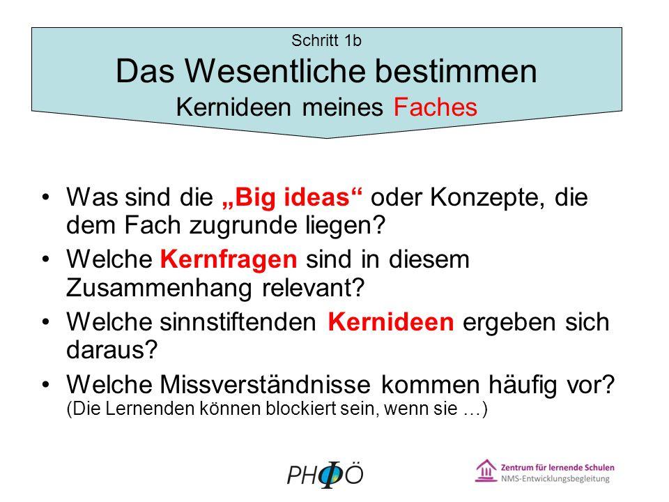 Was sind die Big ideas oder Konzepte, die dem Fach zugrunde liegen.