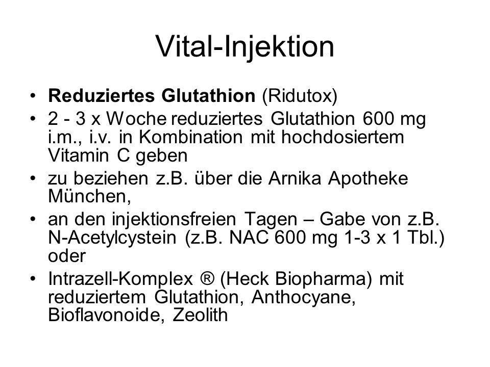 Vital-Injektion Ridutox Injektion Indikationen: Belastung mit freien Radikalen, zur Leberentgiftung, bei Paracetamol Vergiftung, bei herabgesetzter körperlicher Leistungsfähigkeit, zur Vitalitätssteigerung, Entzündungsprozessen, Anti-Aging-Injektion, biologisch begleitende Tumortherapie, neurodegenerative Erkrankungen