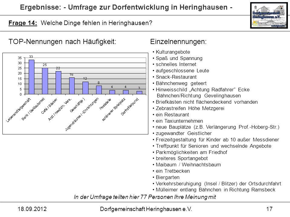 Ergebnisse: - Umfrage zur Dorfentwicklung in Heringhausen - 18.09.2012Dorfgemeinschaft Heringhausen e.V.17 Frage 14: Welche Dinge fehlen in Heringhaus