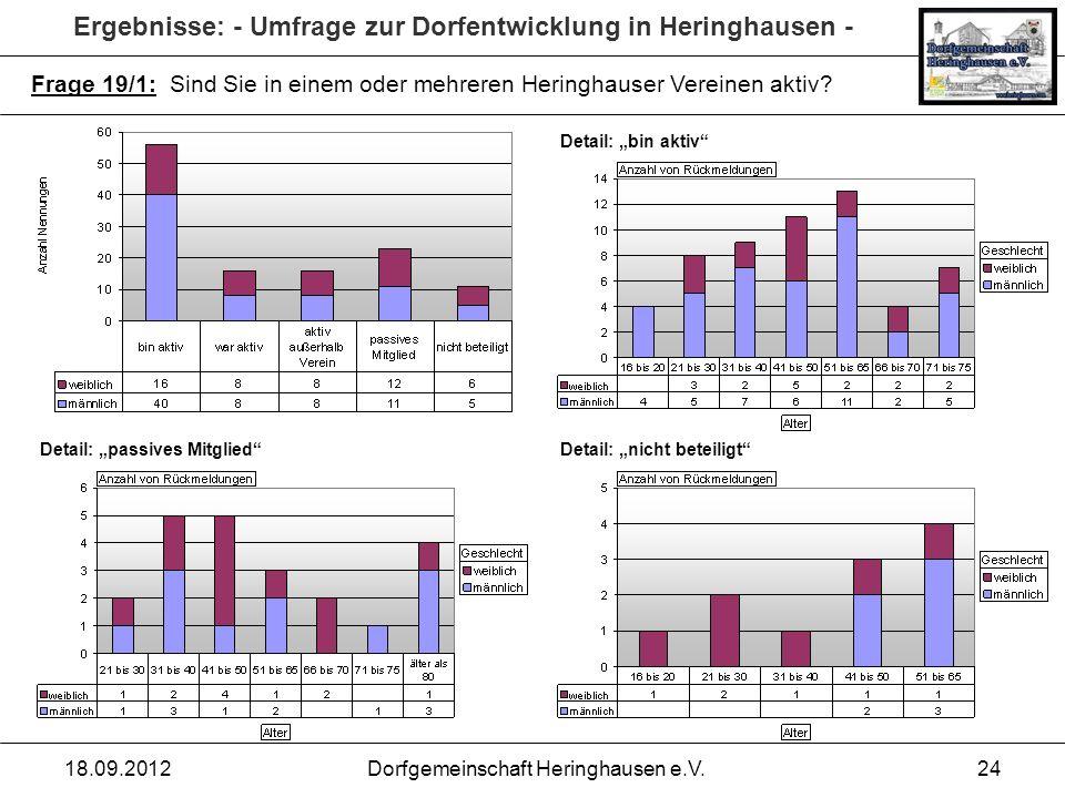 Ergebnisse: - Umfrage zur Dorfentwicklung in Heringhausen - 18.09.2012Dorfgemeinschaft Heringhausen e.V.24 Frage 19/1: Sind Sie in einem oder mehreren