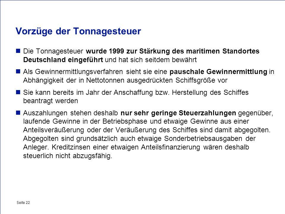 Private & Busines Clients Seite 22 Vorzüge der Tonnagesteuer Die Tonnagesteuer wurde 1999 zur Stärkung des maritimen Standortes Deutschland eingeführt