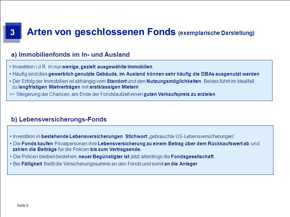 Private & Busines Clients Seite 6 Arten von geschlossenen Fonds (exemplarische Darstellung) Investition i.d.R. in nur wenige, gezielt ausgewählte Immo