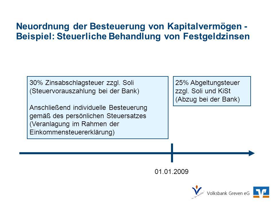 Neuordnung der Besteuerung von Kapitalvermögen - Beispiel: Steuerliche Behandlung von Festgeldzinsen 01.01.2009 25% Abgeltungsteuer zzgl. Soli und KiS