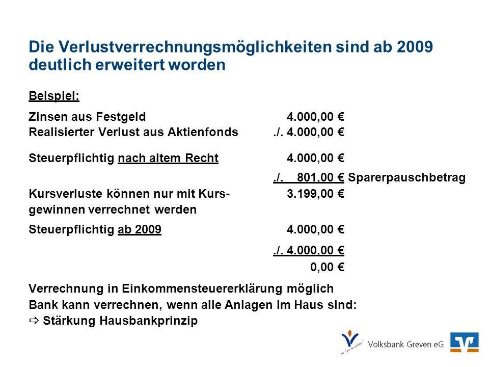 Die Verlustverrechnungsmöglichkeiten sind ab 2009 deutlich erweitert worden Beispiel: Zinsen aus Festgeld 4.000,00 Realisierter Verlust aus Aktienfond