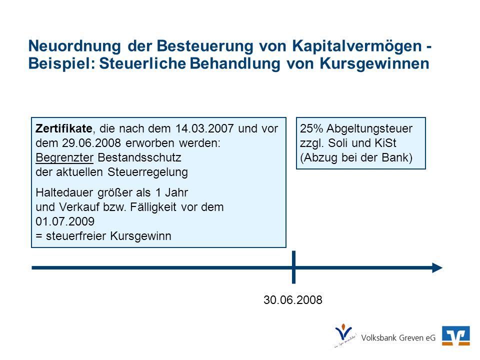 Neuordnung der Besteuerung von Kapitalvermögen - Beispiel: Steuerliche Behandlung von Kursgewinnen 30.06.2008 25% Abgeltungsteuer zzgl. Soli und KiSt
