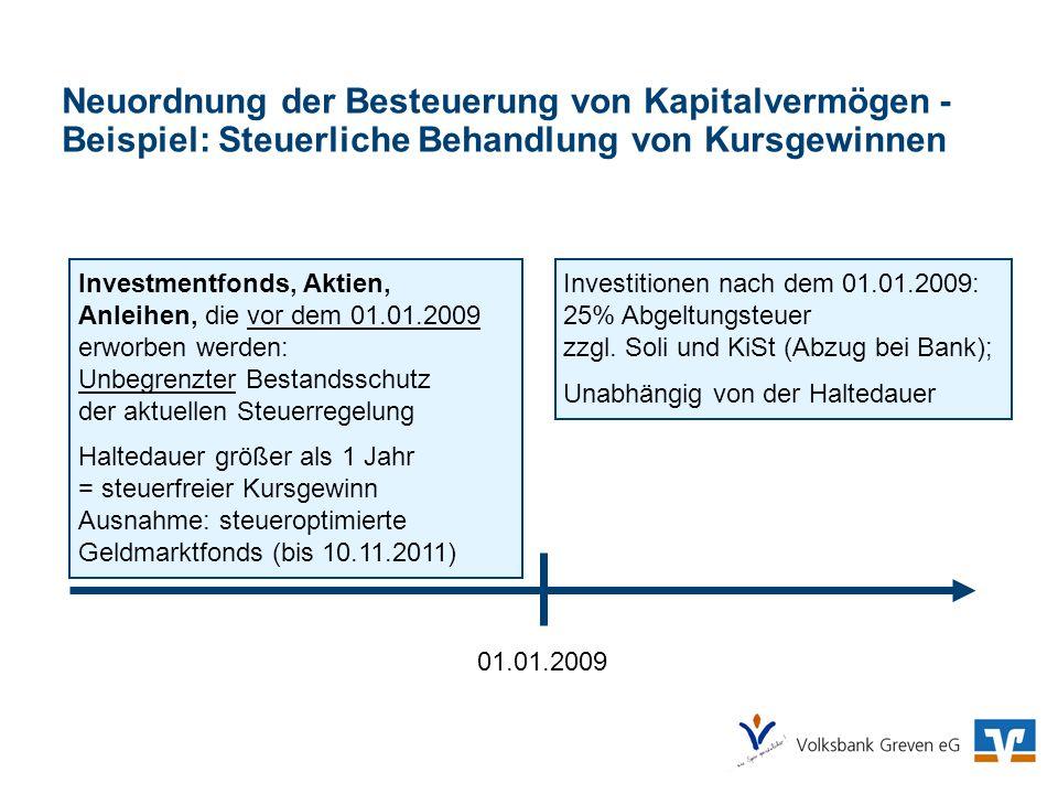 Neuordnung der Besteuerung von Kapitalvermögen - Beispiel: Steuerliche Behandlung von Kursgewinnen 01.01.2009 Investitionen nach dem 01.01.2009: 25% A