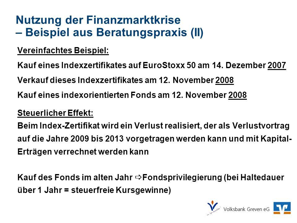 Nutzung der Finanzmarktkrise – Beispiel aus Beratungspraxis (II) Vereinfachtes Beispiel: Kauf eines Indexzertifikates auf EuroStoxx 50 am 14. Dezember