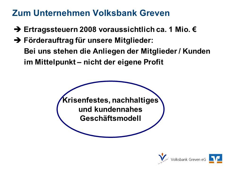 Zum Unternehmen Volksbank Greven Ertragssteuern 2008 voraussichtlich ca. 1 Mio. Förderauftrag für unsere Mitglieder: Bei uns stehen die Anliegen der M