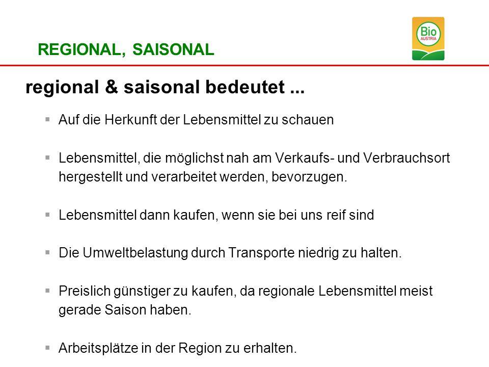 REGIONAL, SAISONAL regional & saisonal bedeutet... Auf die Herkunft der Lebensmittel zu schauen Lebensmittel, die möglichst nah am Verkaufs- und Verbr