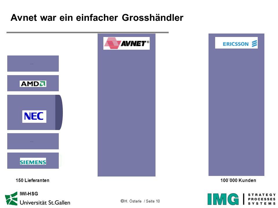 H. Österle / Seite 10 IWI-HSG Avnet war ein einfacher Grosshändler 150 Lieferanten100´000 Kunden...
