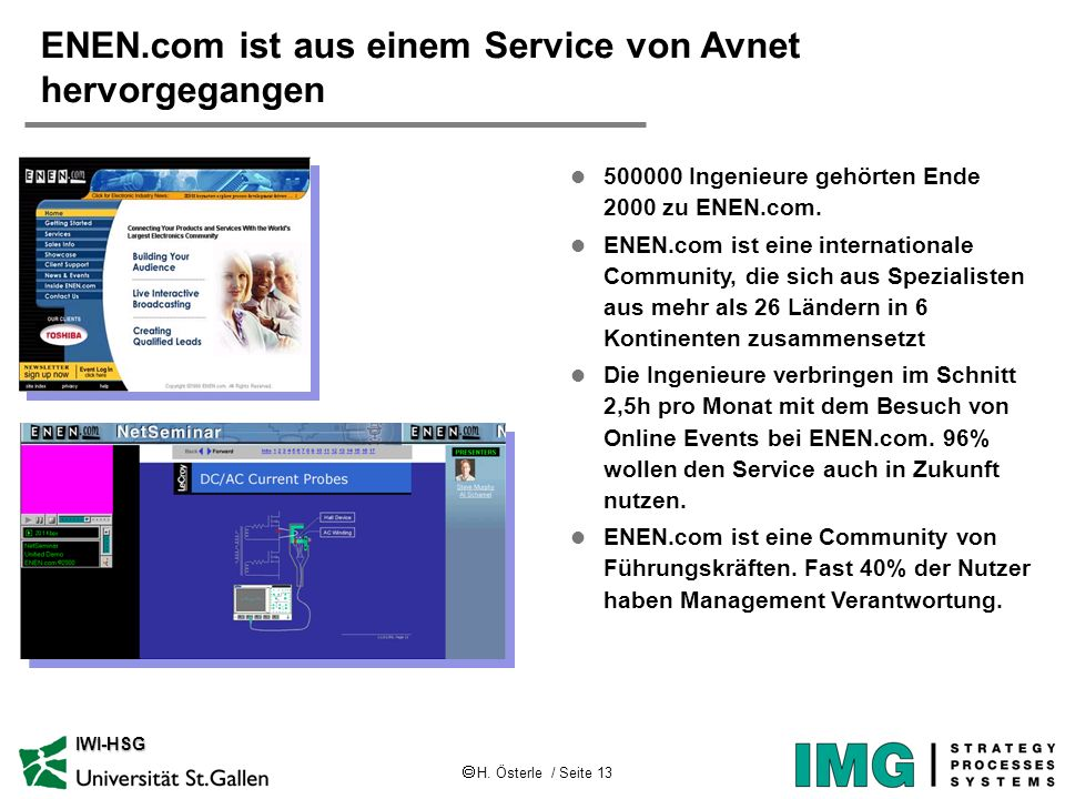 H. Österle / Seite 13 IWI-HSG ENEN.com ist aus einem Service von Avnet hervorgegangen l 500000 Ingenieure gehörten Ende 2000 zu ENEN.com. l ENEN.com i