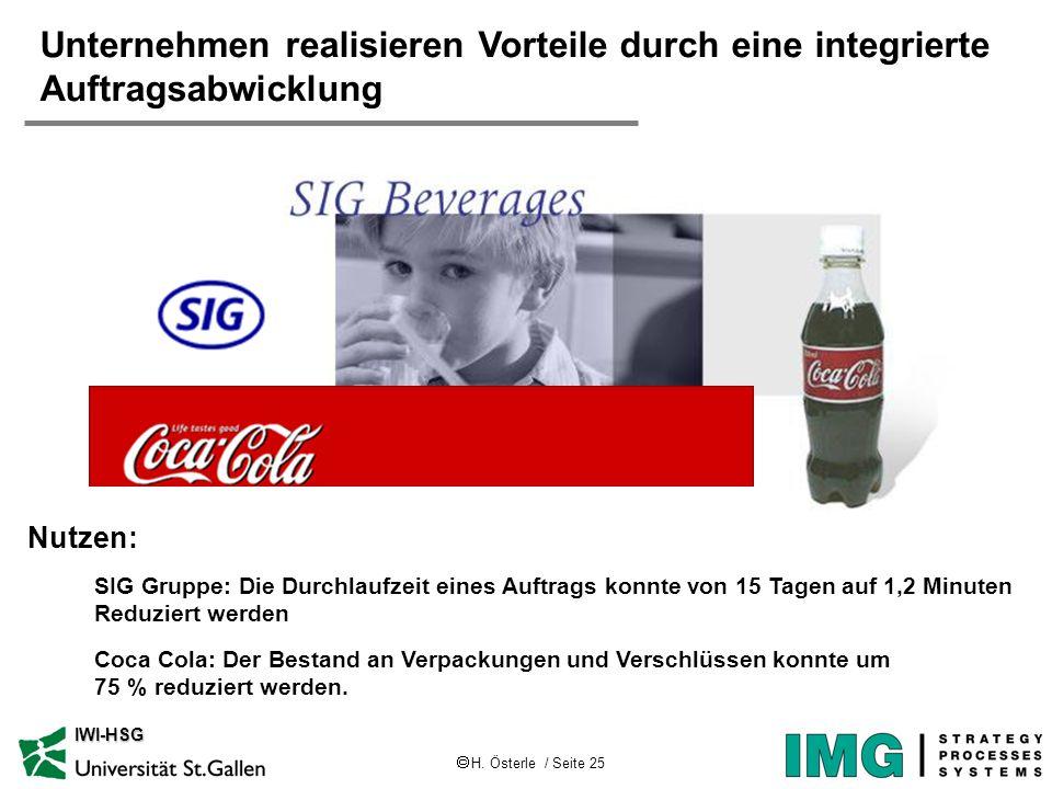 H. Österle / Seite 25 IWI-HSG SIG Gruppe: Die Durchlaufzeit eines Auftrags konnte von 15 Tagen auf 1,2 Minuten Reduziert werden Coca Cola: Der Bestand