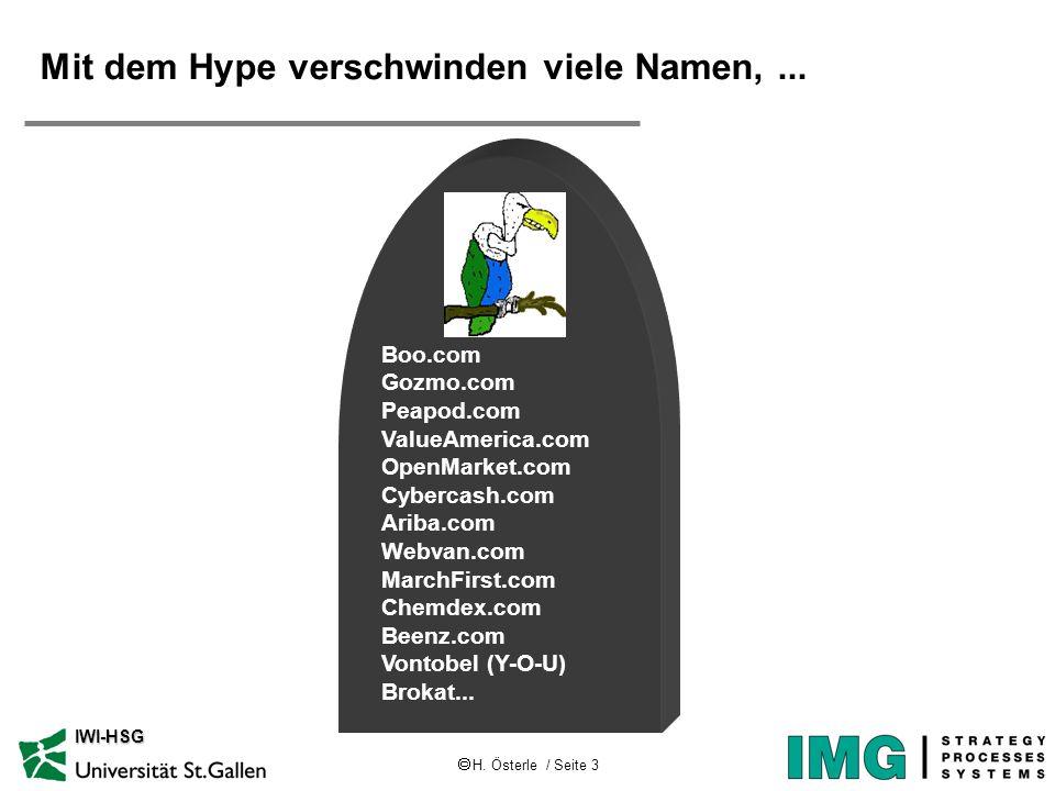 H. Österle / Seite 3 IWI-HSG Mit dem Hype verschwinden viele Namen,... Boo.com Gozmo.com Peapod.com ValueAmerica.com OpenMarket.com Cybercash.com Arib