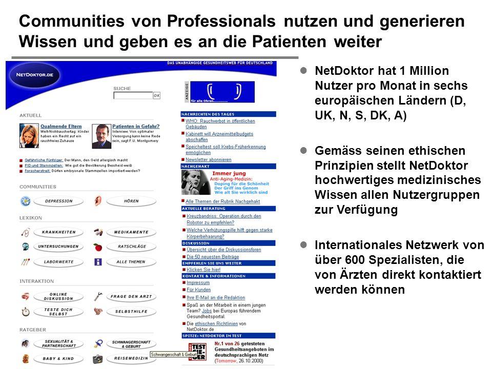 H. Österle / Seite 38 IWI-HSG Communities von Professionals nutzen und generieren Wissen und geben es an die Patienten weiter l NetDoktor hat 1 Millio
