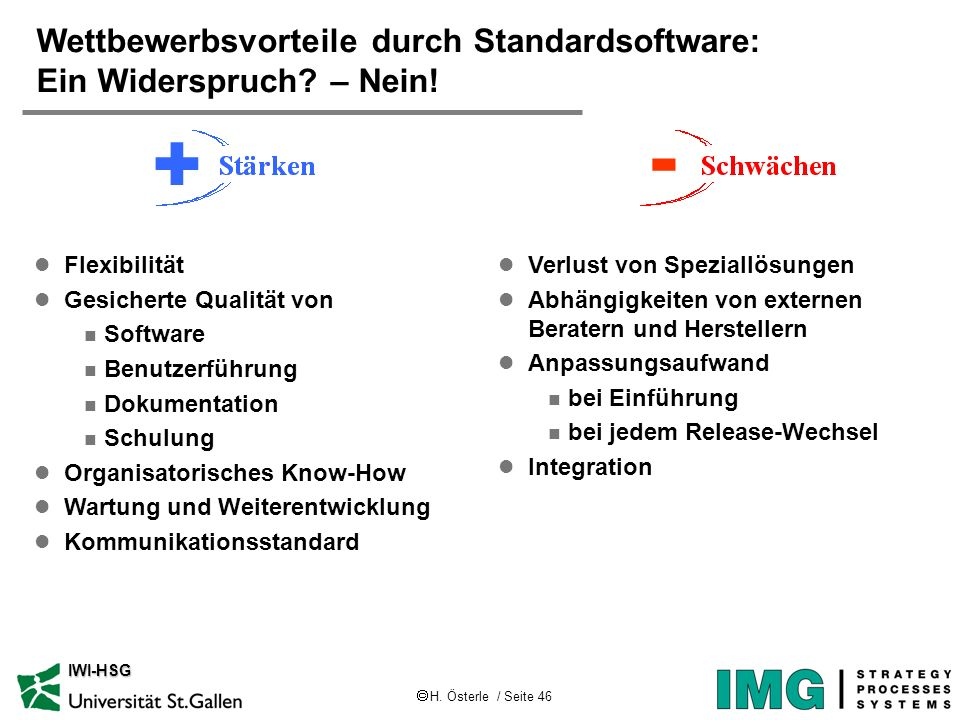 H. Österle / Seite 46 IWI-HSG l Flexibilität l Gesicherte Qualität von n Software n Benutzerführung n Dokumentation n Schulung l Organisatorisches Kno