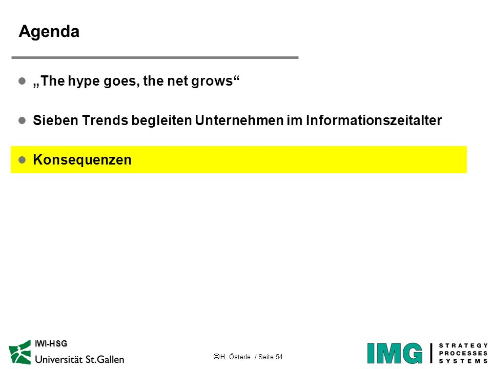 H. Österle / Seite 54 IWI-HSG Agenda l The hype goes, the net grows l Sieben Trends begleiten Unternehmen im Informationszeitalter l Konsequenzen