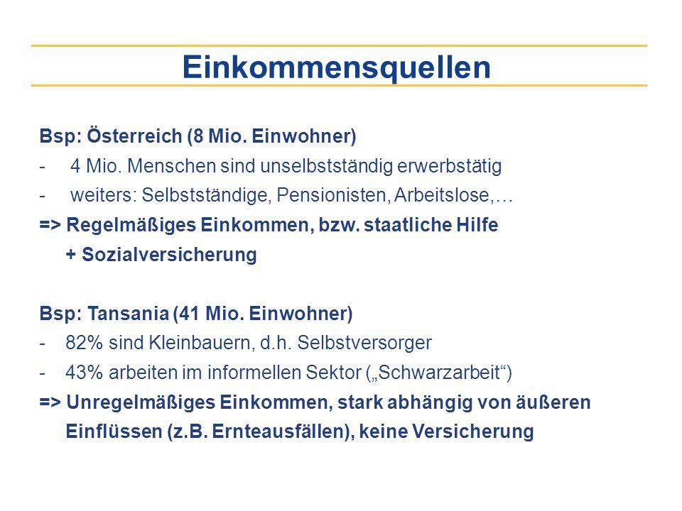 Einkommensquellen Bsp: Österreich (8 Mio. Einwohner) - 4 Mio. Menschen sind unselbstständig erwerbstätig - weiters: Selbstständige, Pensionisten, Arbe