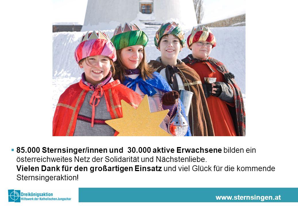 www.sternsingen.at 85.000 Sternsinger/innen und 30.000 aktive Erwachsene bilden ein österreichweites Netz der Solidarität und Nächstenliebe.