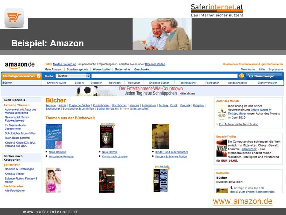 Beispiel: Amazon www.amazon.de w w w. s a f e r i n t e r n e t. a t