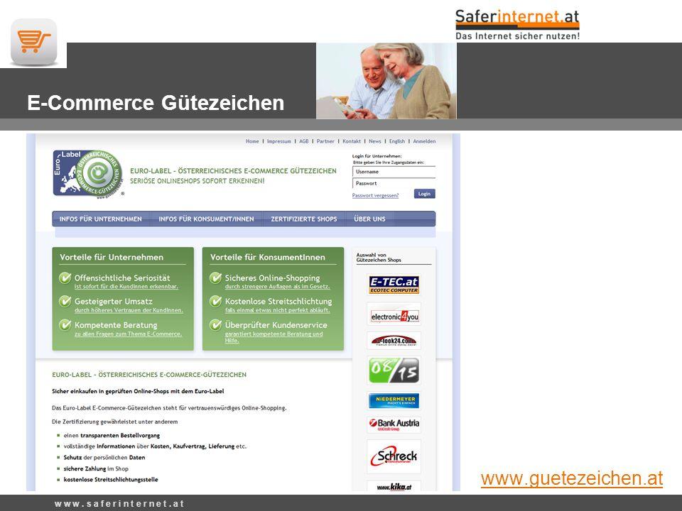 E-Commerce-Gütezeichen w w w. s a f e r i n t e r n e t.